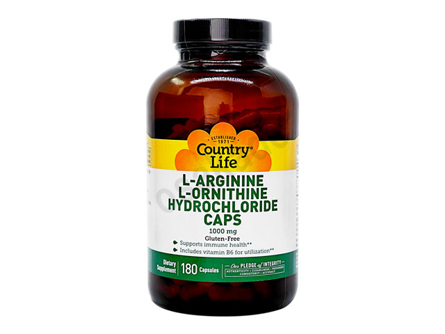 L-アルギニン&L-オルニチン1000mg (L-Arginine & L-Ornithine) 【カントリーライフ社製】【1本180錠】